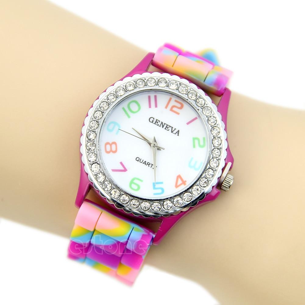 Multicolor Women Stylish Silicone Geneva Crystal Diamante Chic Wrist Watches New Q6PD