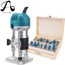 800W Woodworking Electric Trimmer Wood Milling Engraving Slotting Trimming Machine Carving Machine Router Wood Blue/Red