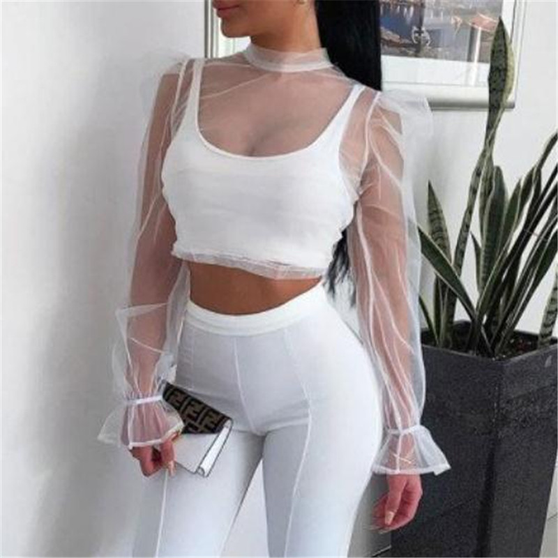 Fashion See-through Women's Blouses New White Sheer Mesh Loose Short Tops Wear Autumn Ladies' Long Puff Sleeves Tunic Tops Fall