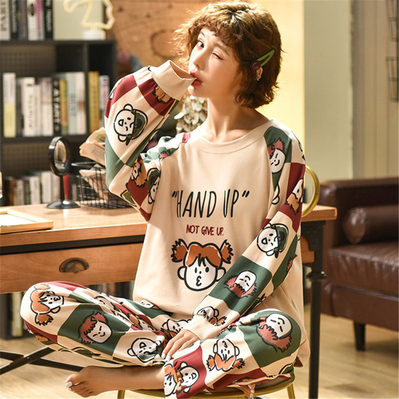 GCAROL Wome 2 Pcs Cotton Pajama Sets Cartoon SleepShirt Long sleeved Trousers Graffiti Cute Home Clothes Suit Plus Size 2XL