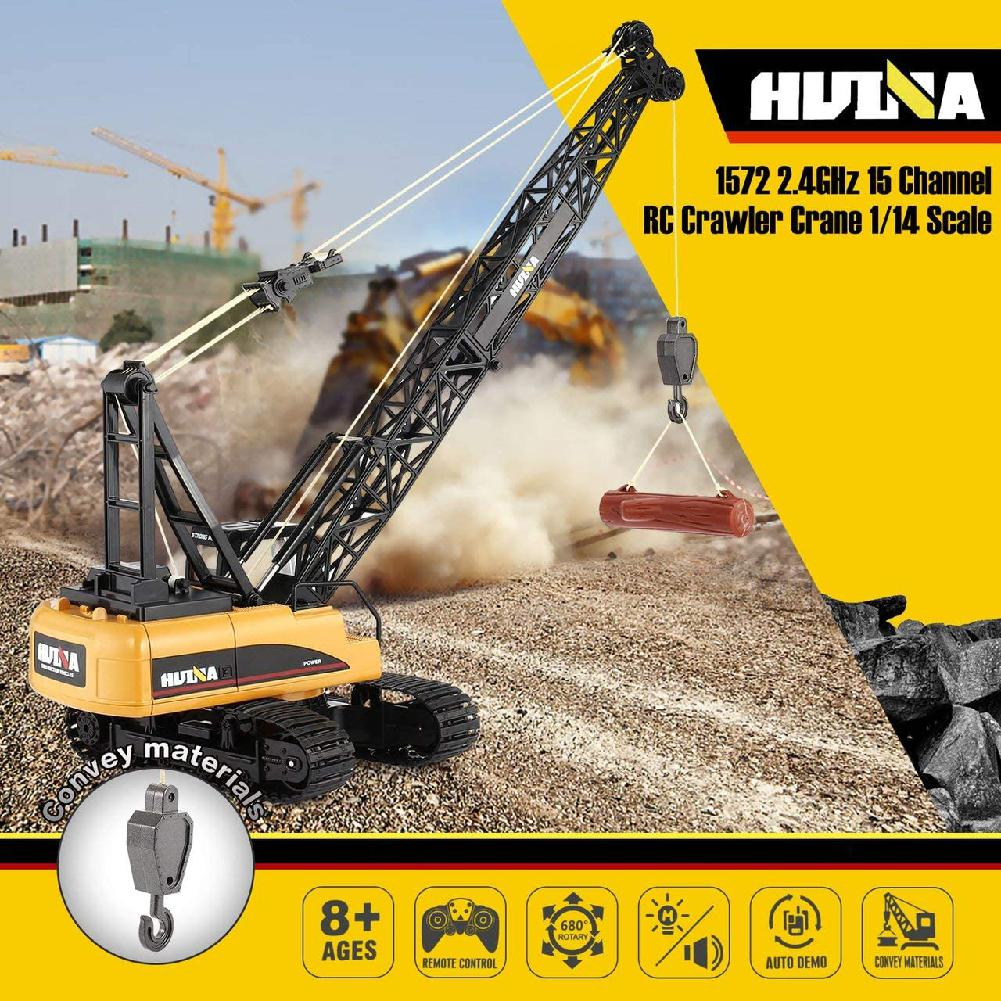 HUINA 1572 15ch RC Alloy Crane 1/14 2.4GHz Engineering Movable Latticed Boom Hook Mechanical <font><b>Truck</b></font> Toy Car with Sound <font><b>Light</b></font> image