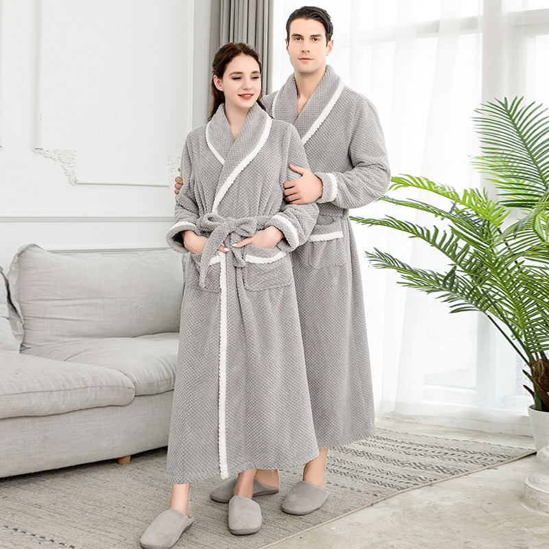 Men Winter Extra Long Thick Thermal Bathrobe Mens Luxury Flannel Warm Kimono Bath Robe Women Sexy Fur Robes Male Soft Nightgown
