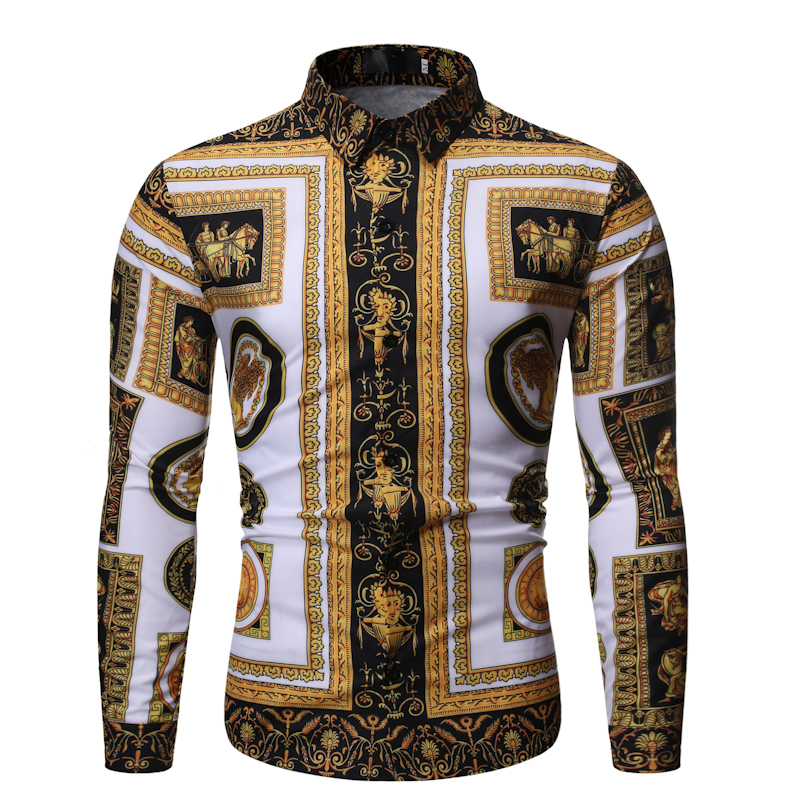 New Fashion Mens Baroque Floral Royal Shirts Luxury Brand Print Designer Dress Shirts Fancy Slim Casual Club Style 1