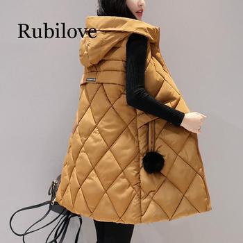 цена на Autumn Winter Vest Women Waistcoat 2019 New Fashion Female Sleeveless Jacket Hooded Warm Long Vest cotton feminino Plus size