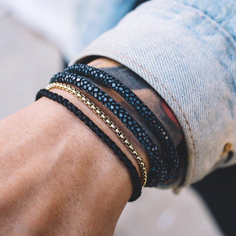 bracelet-Bracelets-Charm-bracelets-Stainless-steel-Men-watch-accessories-luxury-leather-stingray-Genuine-leather-bangle-hombre