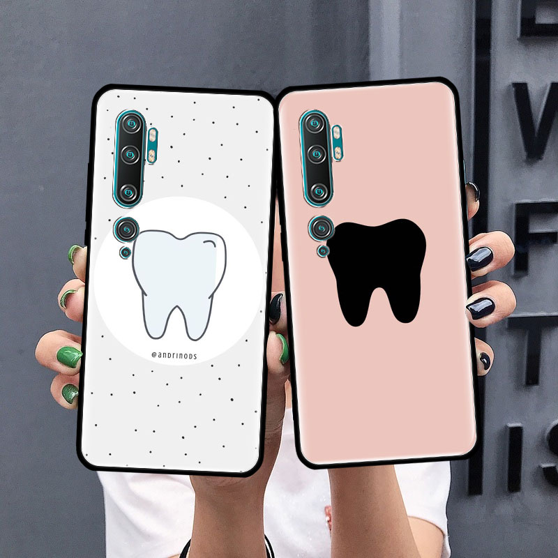 Cute Wisdom Teeth Tooth Case For Xiaomi Mi Note 10 9 CC9 9T Pro 5G CC9E 8 A3 A2 Lite X2 F1 Black Soft Bags Phone Cover