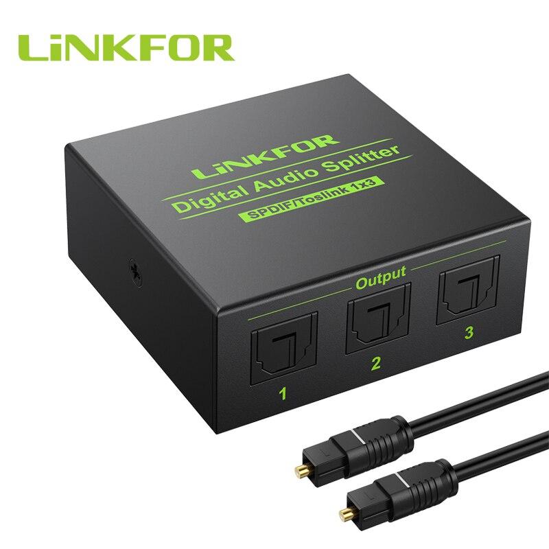 Linkfor divisor de áudio digital 1x3, divisor óptico de liga de alumínio spdif toslink de 3 vias suporte dts ac3