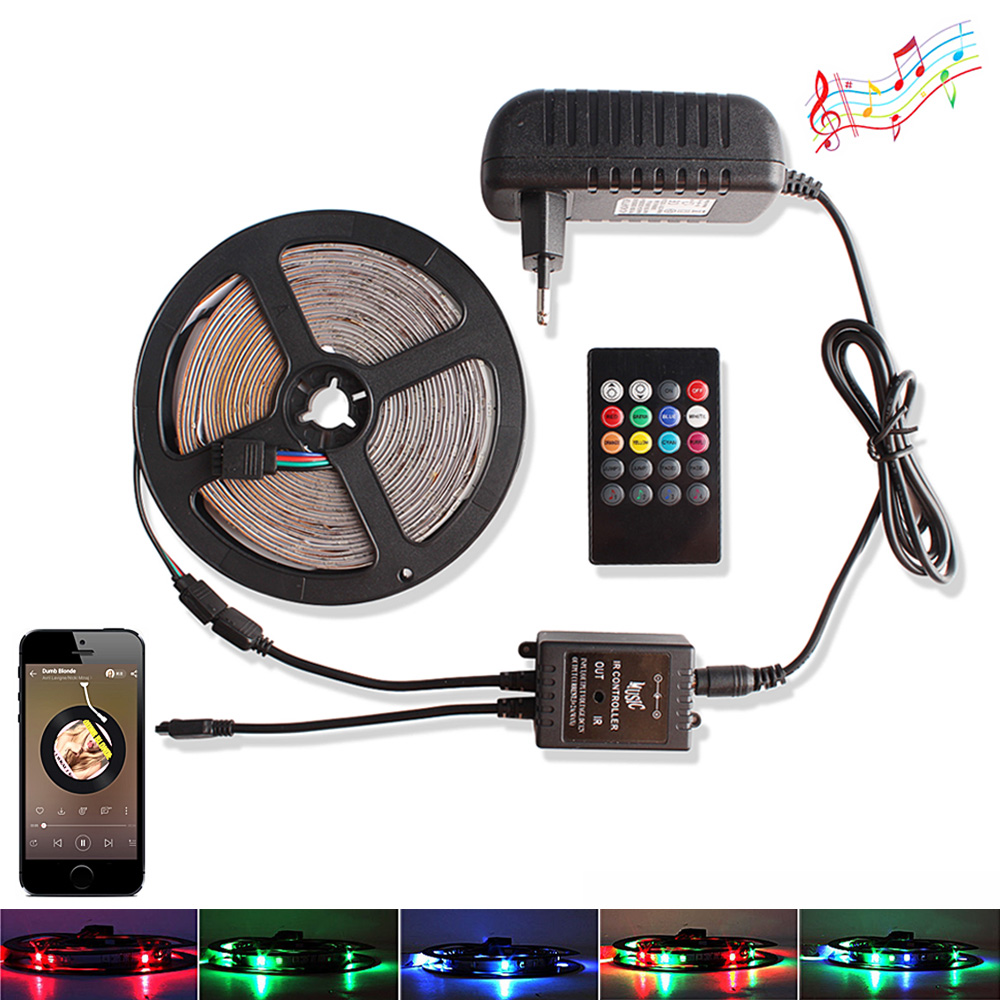 2835 RGB LED Strip DC 12V Waterproof 5M 60 LEDs/m Tira Ribbon Led Light Diode Tape + Music / RF Remote Controller +Power Adapter