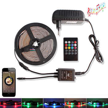2835 RGB LED Strip DC 12V Waterproof 5M 60 LEDs/m Tira Ribbon Led Light Diode Tape + Music / RF Remote Controller +Power Adapter - DISCOUNT ITEM  25% OFF All Category