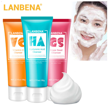LANBENA Facial Cleanser Whitening Face Wash Foam Shrink Pore Face Cleansing Deep Cleansing Oil Control Moisturizing Facial Care facial cleansing oil