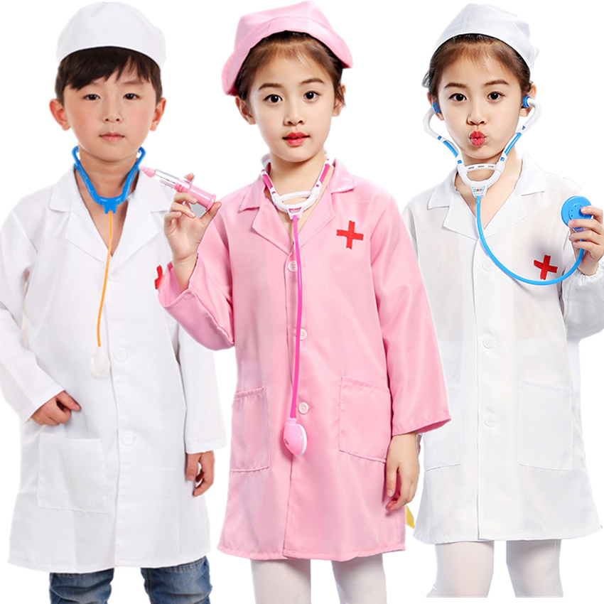 Halloween Costumes For Kids Carnival Party Disguise Surgeon Doctor Fancy Nurse Toy Set Cosplay Anime Girl Boy Feistival Uniform