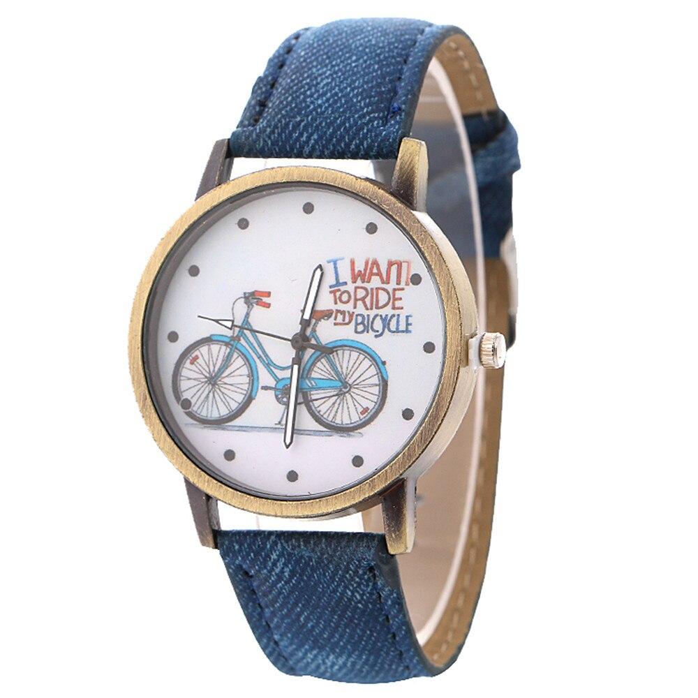 Woman Watch 2018 Vintage Denim Women's Watch Bicycle Dot Pattern Quartz Watch Luxury Brand Personality Fashion Watch
