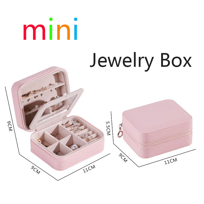 3-Storey Mini Jewelry Box PU Zipper Travel Earrings Necklace Ring Storage Case Casket