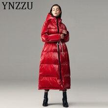 YNZZU European 2020 Winter Chic Metal Color Long Hooded Women's Down Ja