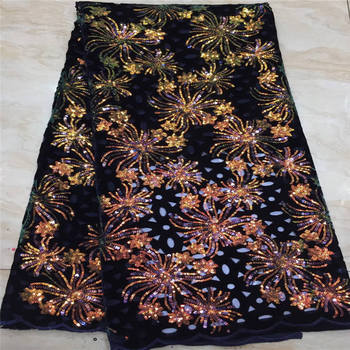 NEW African Lace Fabric, French Sequins Net Lace Noble Gold Sequins Fabrics High Quality African Black Tulle Sequins Lace Fabric