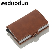 Weduoduo  Antitheft Men Vintage Credit Card Holder Blocking Rfid Wallet Leather Unisex Security Information Aluminum Metal Purse