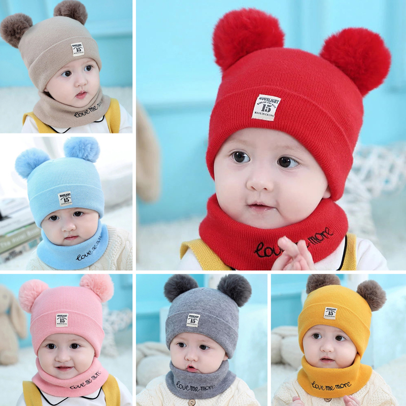 2pcs Unisex Child Beanies Cap Set Baby Kids Solid Color Stripe Hat And Scarf Winter Warm Suit Set For Boys Girls Toddler Student