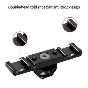 """Image 2 - Potrójny/podwójny zimny Adapter do butów 1/4 """"uchwyt na pasek rozszerzenia Vlogging uchwyt wideo na statyw lustrzanka cyfrowa lampka wypełniająca mikrofon"""