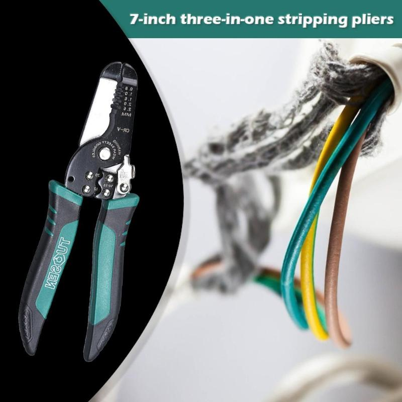 TUOSEN Spring Cable Stripping Scissors Wire Cutter Clamping Pliers Hand Tool Rust proof and Corrosion resistant - 6