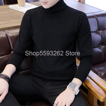 2020 men's sweater ordinary pullover long sleeve green popular high collar men's sweater sweater men(China)