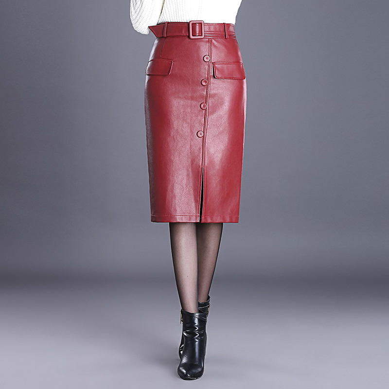 2018 Fall Winter Fashion Elegant Woman Placket High Waist Wine Red Pencil Pu Leather Skirt , Autumn  Female Women 4xl Skirts