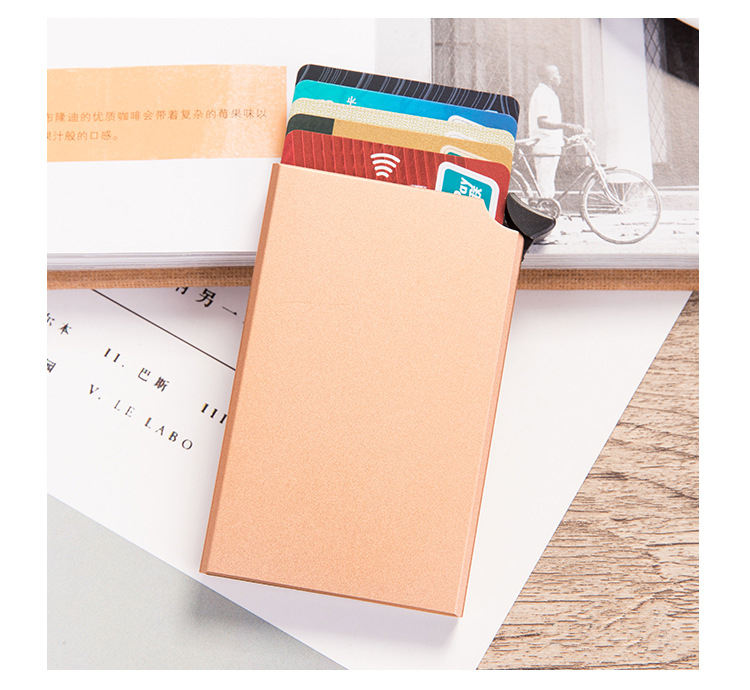 H4712f23c893b42c787ead73807d3e0301 - RFID Anti-theft Smart Wallet Thin ID Card Holder Unisex Automatically Solid Metal Bank Credit Card Holder Business Mini