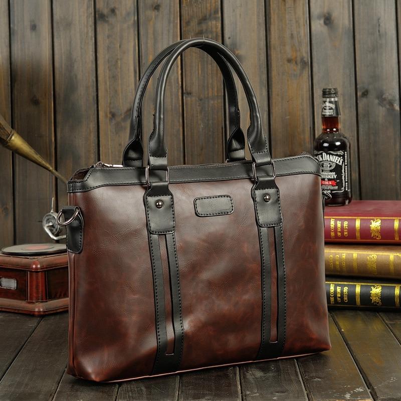 2020 New Men's Briefcase Genuine Leather Business Handbag Laptop Casual Large Shoulder Bag Vintage Messenger Bags Luxury Bolsas