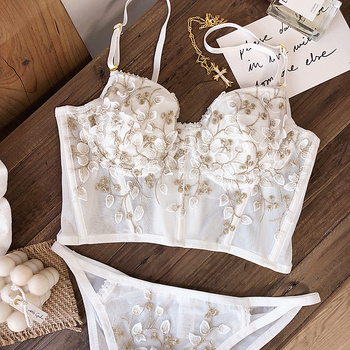 French white floral embroidery romantic thin cup with pad women sexy push up underwear bra sets adjustable lengthen lingerie