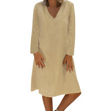 hot women dress plus size solid casual Loose Solid Long Sleeve Cotton Linen Knee Length beach Dresses high quality jurken(China)