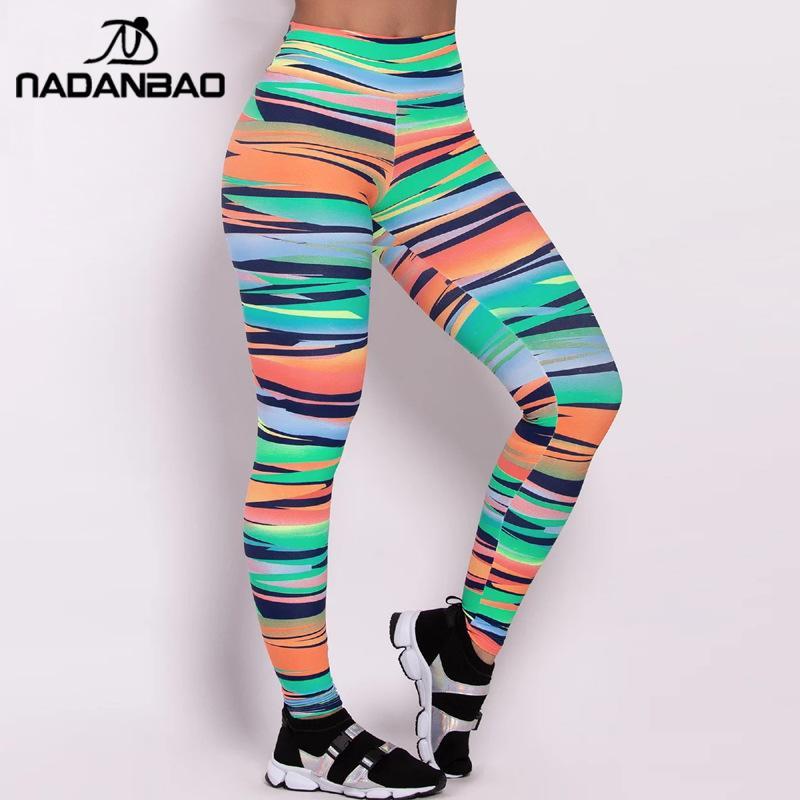 NADANBAO Colorful Stripe Women Push Up Leggings For Fitness 3D Printed Sporting Pants Elastic Slim Sweatpants For Workout Legins