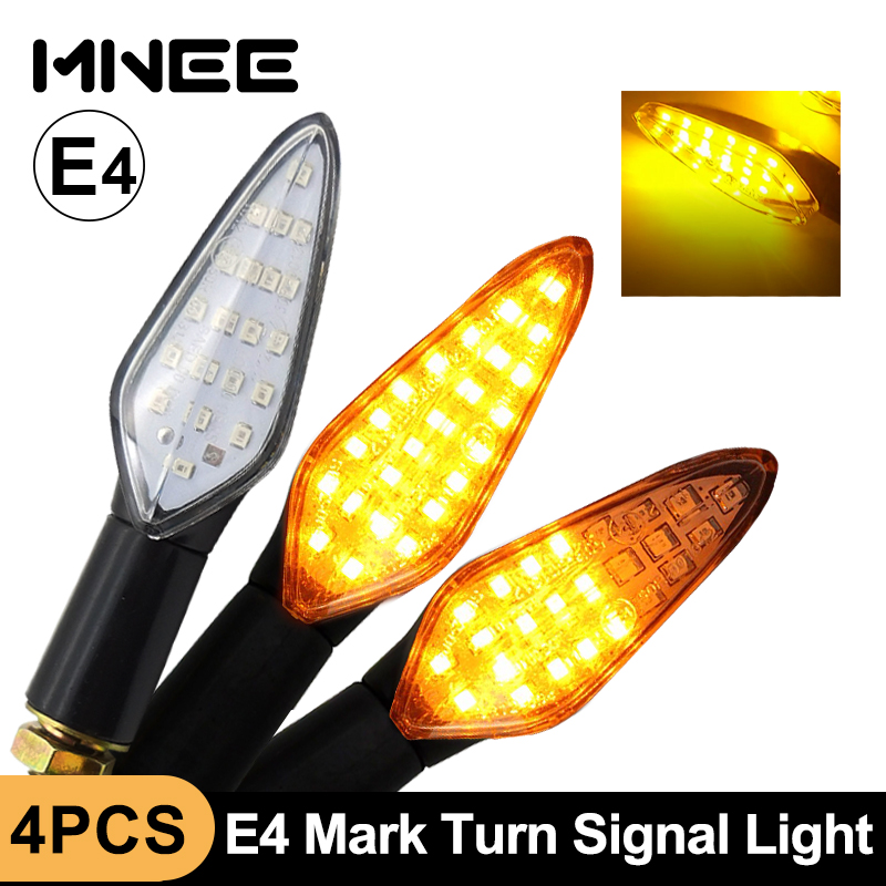 4PCS LED Turn Signal Light E4 Motorcycle Turn Signals Built-in Relay Flowing Flash Lighting 20LED Waterproof Motorcycle Blinker