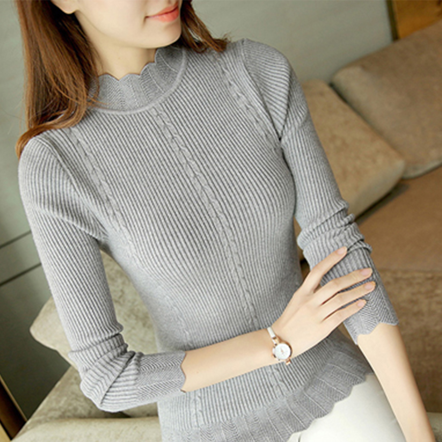 Slim Winter Ruffles Knitted Turtleneck Sweater Women Solid Long Sleeve Warm Pullover Tops Female  Fashion Autumn Bottoming Top