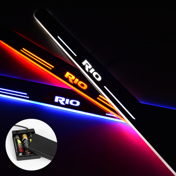 LED Door Sill For Kia Rio 3 4 2015 2016 2017 2018 Streamed Light Scuff Plate Acrylic Battery Car Door Sills Accessories image