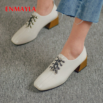 ENMAYLA 2019 Basic Womens Shoes Patent Leather Square Toe Lace-Up Women Pumps Casual Square Heel Classics Sewing Womens Heels