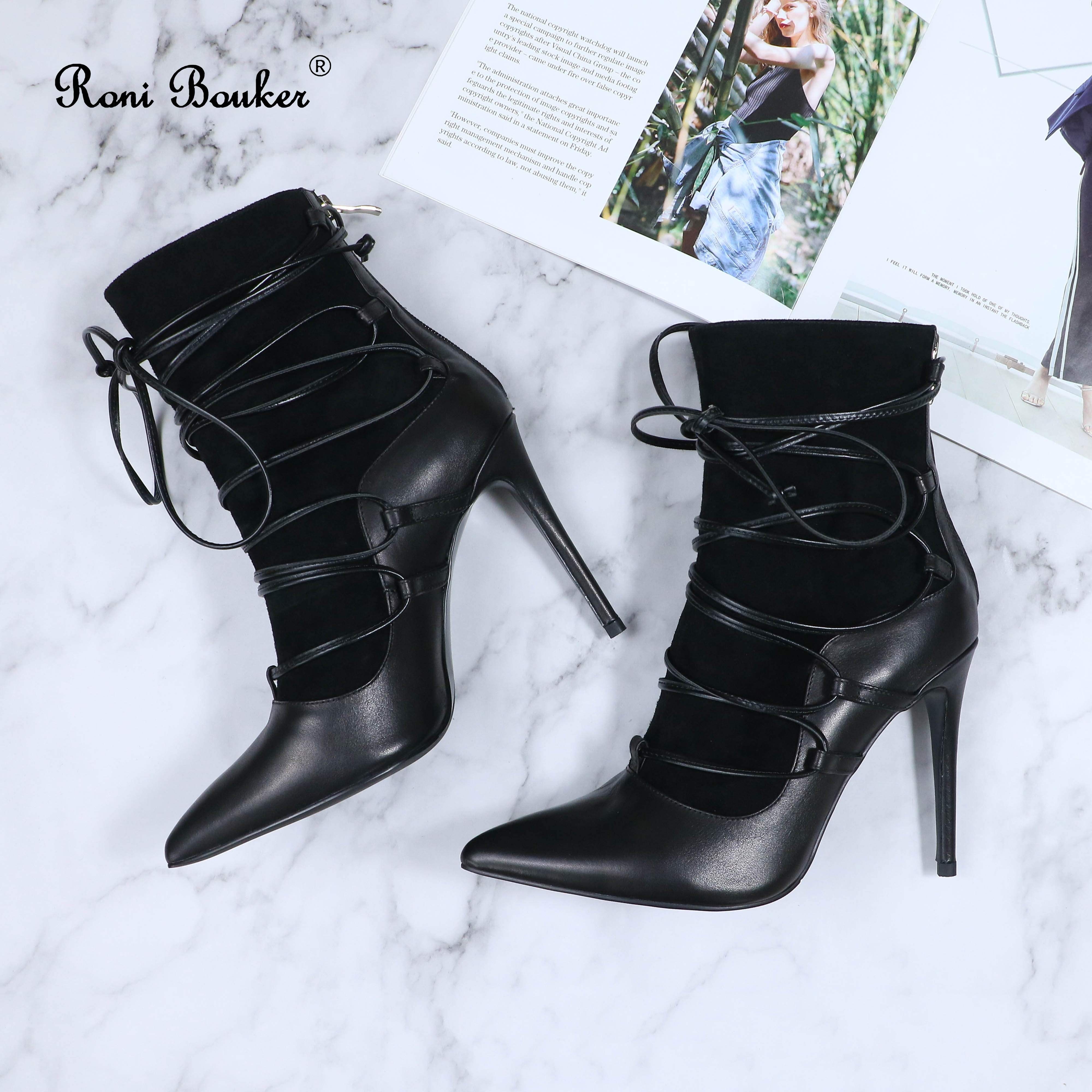 Roni Bouker Fashion Designer Shoes Women Genuine Leather Handmade Booties Woman Lace Up Ankle Boots Lady Black High Heels - 4