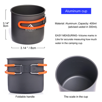 Widesea Camping Ultra-light Cookware Pots Set Gas Burner Stove Cooktop Outdoor Travel Tableware Spoon Fork Knife Picnic kitchen 3