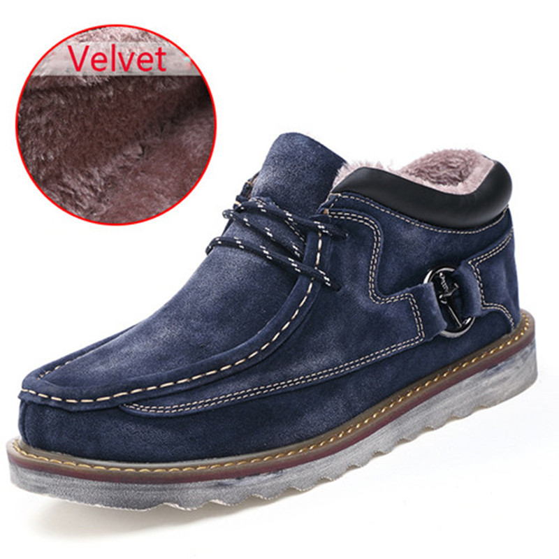 Autumn Winter Boots Men Velvet Warm Work Shoes Genuine Leather Men Shoes Outdoor Hiking Snow Boots Height Increasing