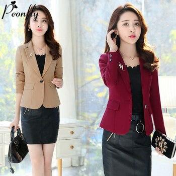 PEONFLY Fashion Women Blazer 2020 Casual Office Lady Work Pockets Jackets Coat Slim Korean Style Solid Women Blazer Femme Jacket 1