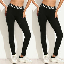 Women Workout Gym Sports Pants Leggings Fitness Stretch Trousers Slim Long Pants Ladies Fitness Stretch Trousers Black