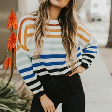 2019 Autumn Women Knitted Sweater Fashion Rainbow Stripe Contrast Color Long Sleeve Casual Warm Jumper Winter Pullover Knitwear contrast stripe trim jumper