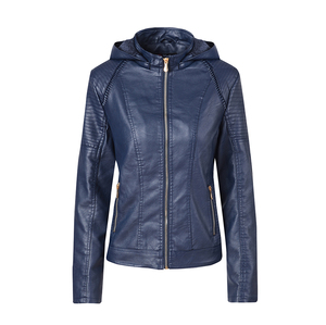 Image 4 - Blouson automne hiver similicuir 2019 de marque Plus velours pour moto, sweat à capuche pour femme