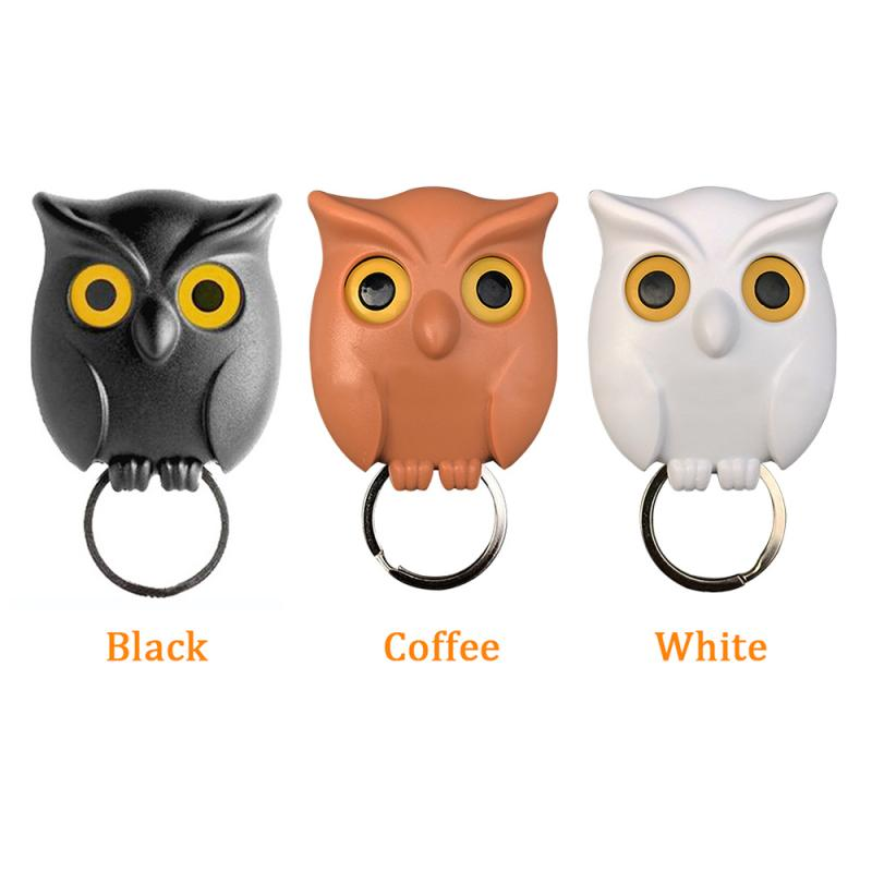 1 PCS Owl Night Wall Magnetic Key Holder Magnets Hold Keychain Key Hanger Hook Hanging Key Will Open Eyes Black White Brown(China)