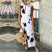 Summer Casual Sleeveless Ladies V Neck Dresses Women Elegant Leaves Printing Loose Party Dress Beach Style Ankle-Length Sundress