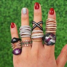 GODKI Luxury Crossover Twist Stacks Stackable Rings For Women Wedding Cubic Zircon Engagement Dubai Naija Bridal Finger Ring