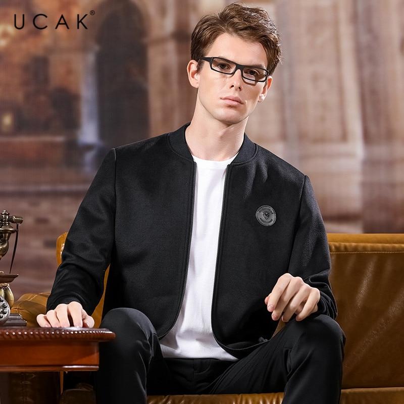 UCAK Brand Polyester Jacket Men 2020 Spring New Arrival Casual Solid V-Neck Pockets Chamarra Para Hombre Outwear Jackets U8034