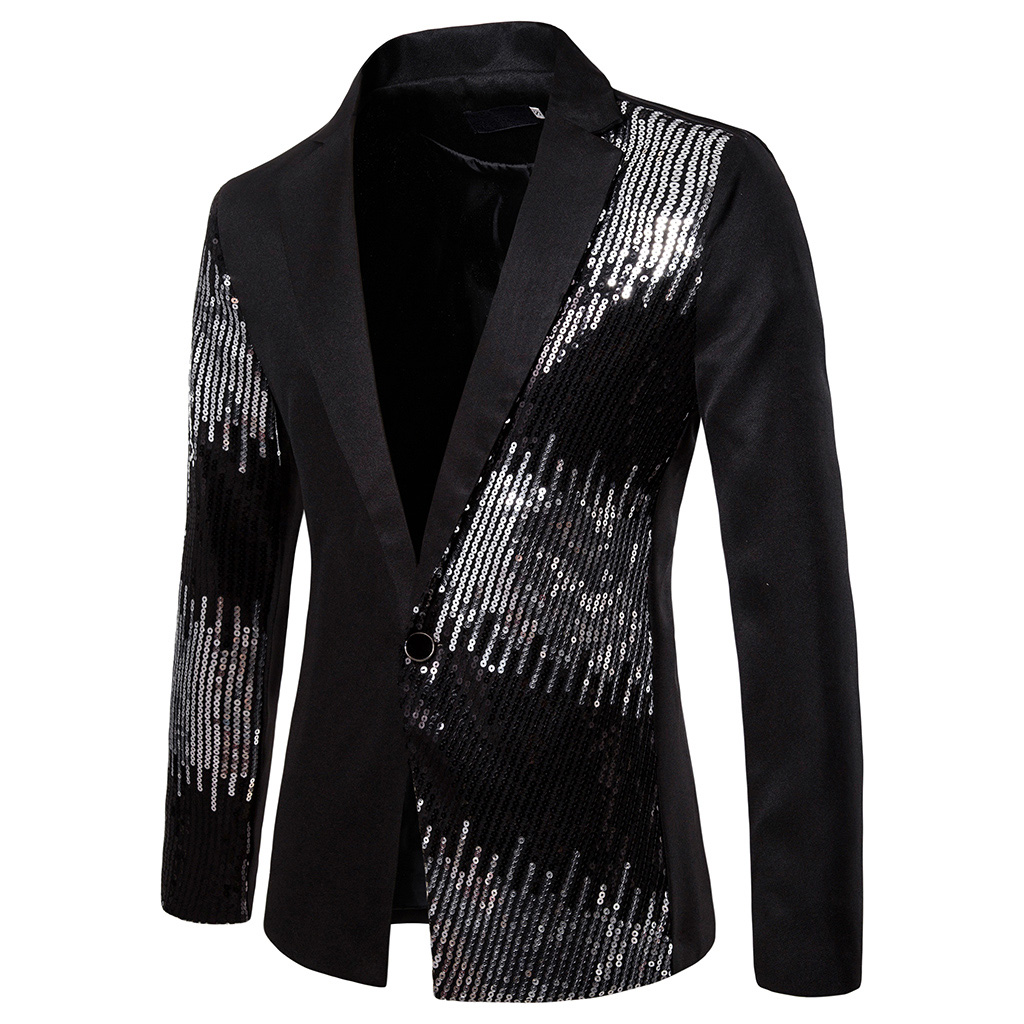MJARTORIA 2019 Men Shiny Sequin Glitter Embellished Blazer Jacket Men Nightclub Blazer Party Suit Jacket Stage Singers Clothes