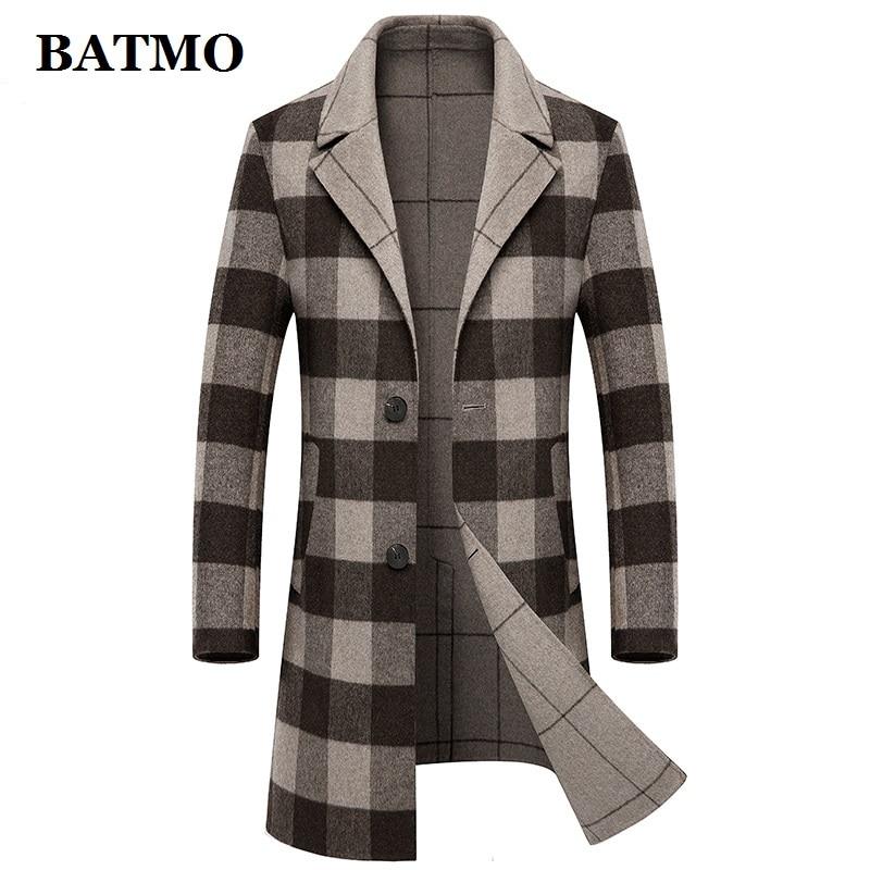 BATMO 2019 new arrival autumn high quality 60% wool long trench coat men,men's wool jackets,88507