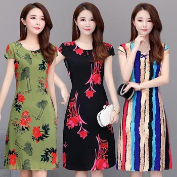 women Summer new plus size S-6XL cotton silk dress Floral summer womens printed short-sleeved dresses
