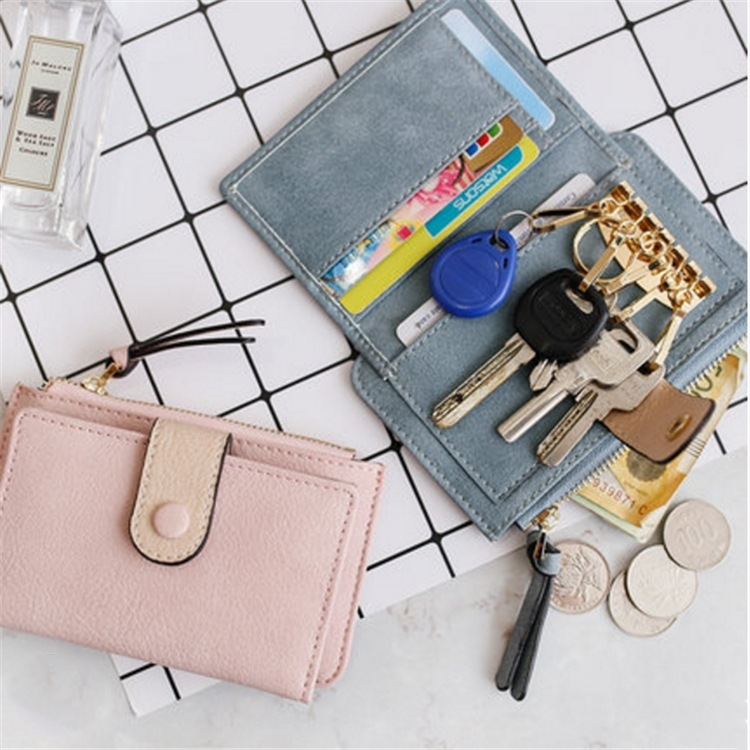 Korean-style Mid-length Women's Multi-functional Key And COIN Case Fashion Buckle Card Bit More Pu Zip Coin Purse
