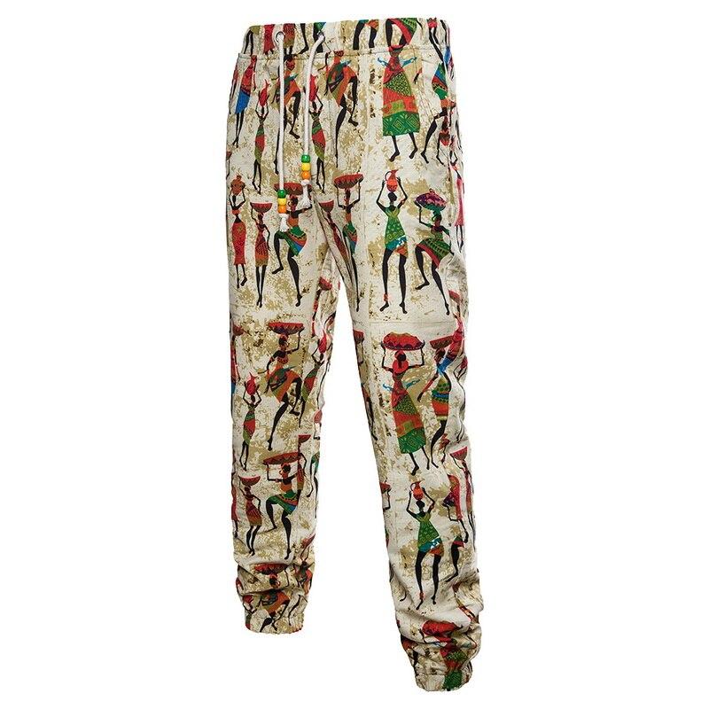 Oeak Streetwear Trousers Pants Ethnic-Printed Drawstring Loose Cotton Linen Fashion Hip-Hop